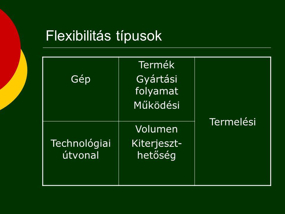 Flexibilitás típusok Gép Termék Gyártási folyamat Működési Termelési Technológiai útvonal Volumen Kiterjeszt- hetőség