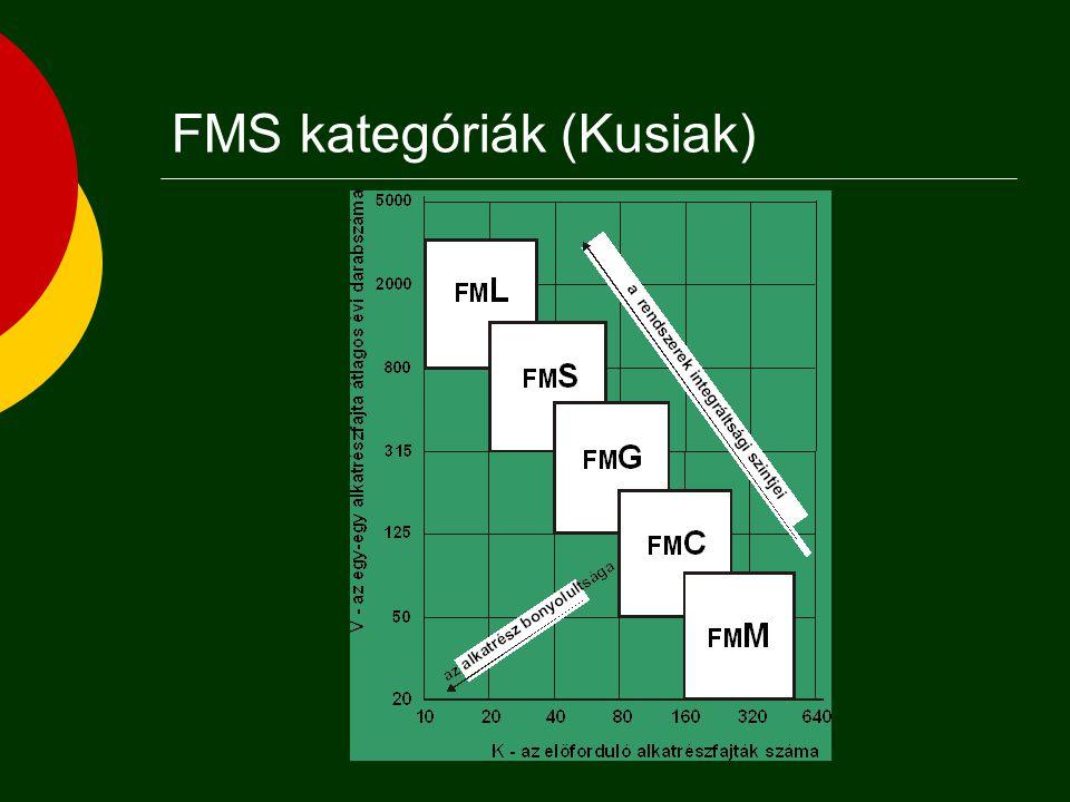  Szerszámgépek általános vagy speciális célú gépek, automatizáltság (pl:szerszámcsere stb.)  Anyagmozgató és szállító rendszerek felépítés, típus funkció, működési mód  Műveletközi tárolók elhelyezés (központi, lokális, decentralizált) tárolókapacitás  Számítógépes irányítás kommunikáció (hálózat) típusa döntési rendszer (centralizált, elosztott) Rugalmas gyártórendszerek komponensei