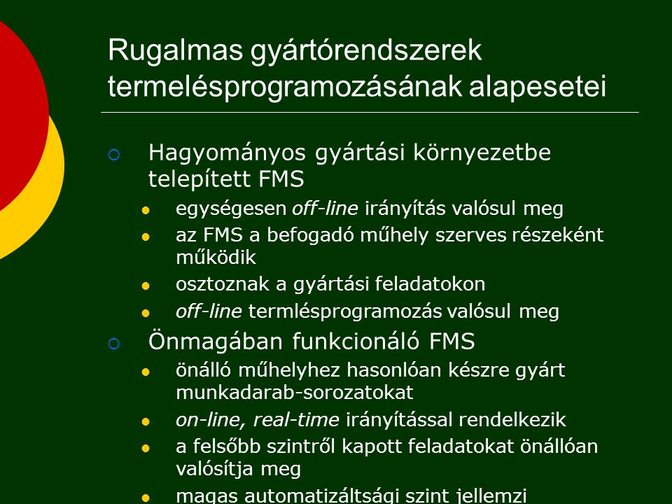 FMS kategóriák (Kusiak)