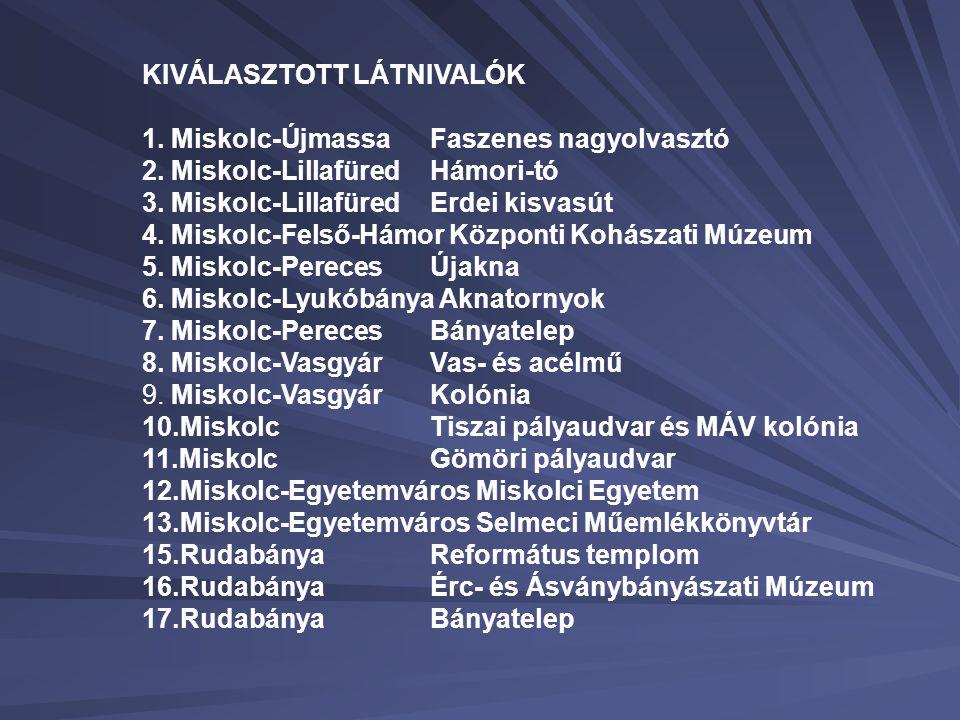 KIVÁLASZTOTT LÁTNIVALÓK 1.Miskolc-Újmassa Faszenes nagyolvasztó 2.