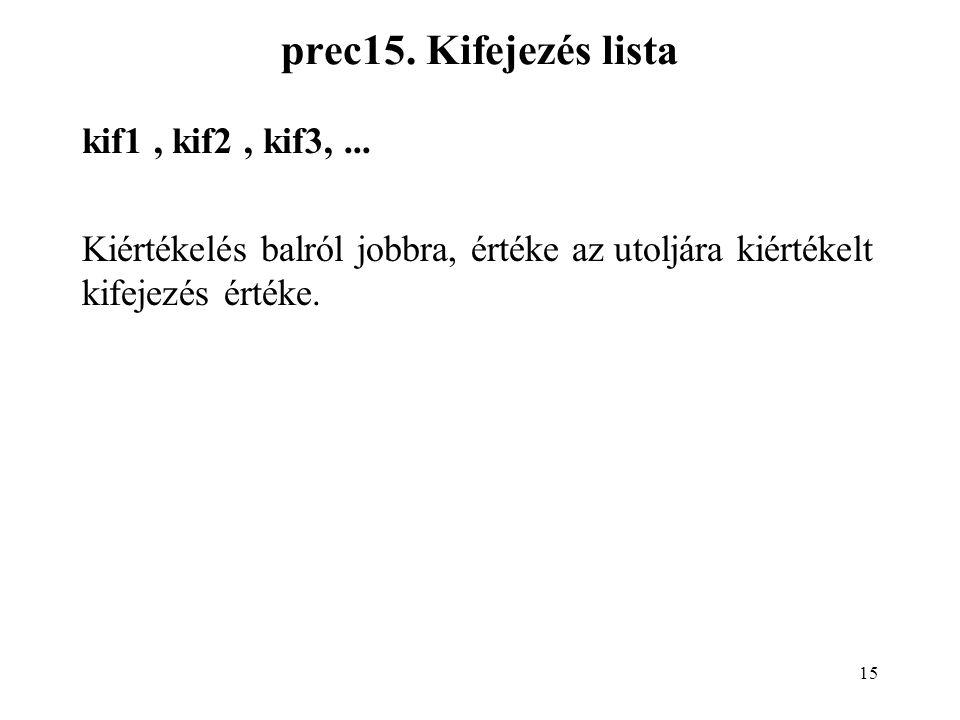 15 prec15. Kifejezés lista kif1, kif2, kif3,... Kiértékelés balról jobbra, értéke az utoljára kiértékelt kifejezés értéke.