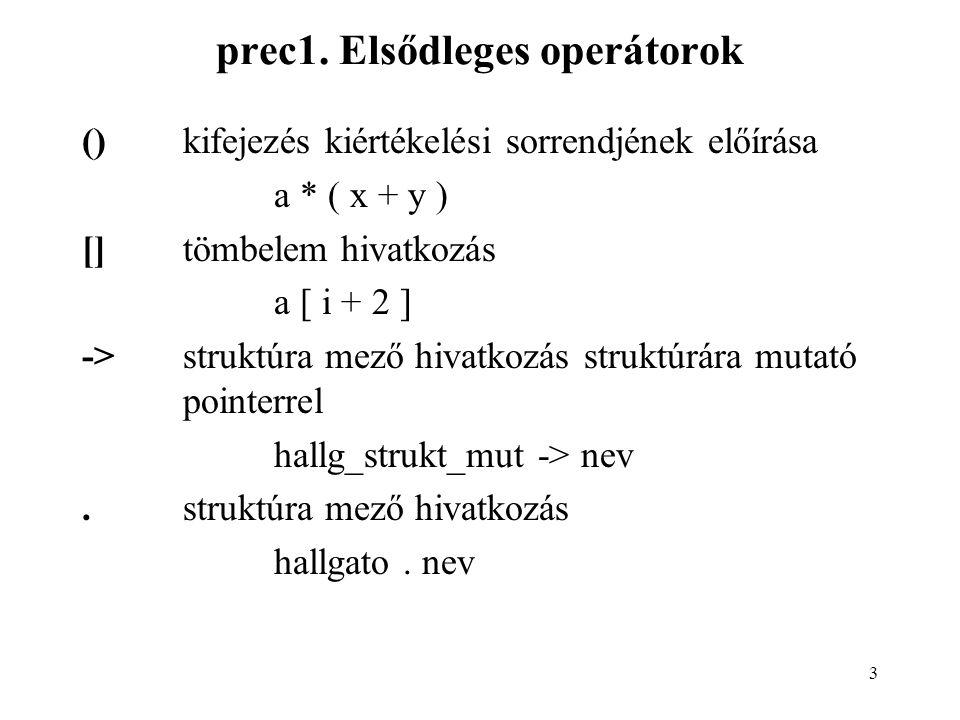 4 prec2.Egyoperandusú operátorok 1.