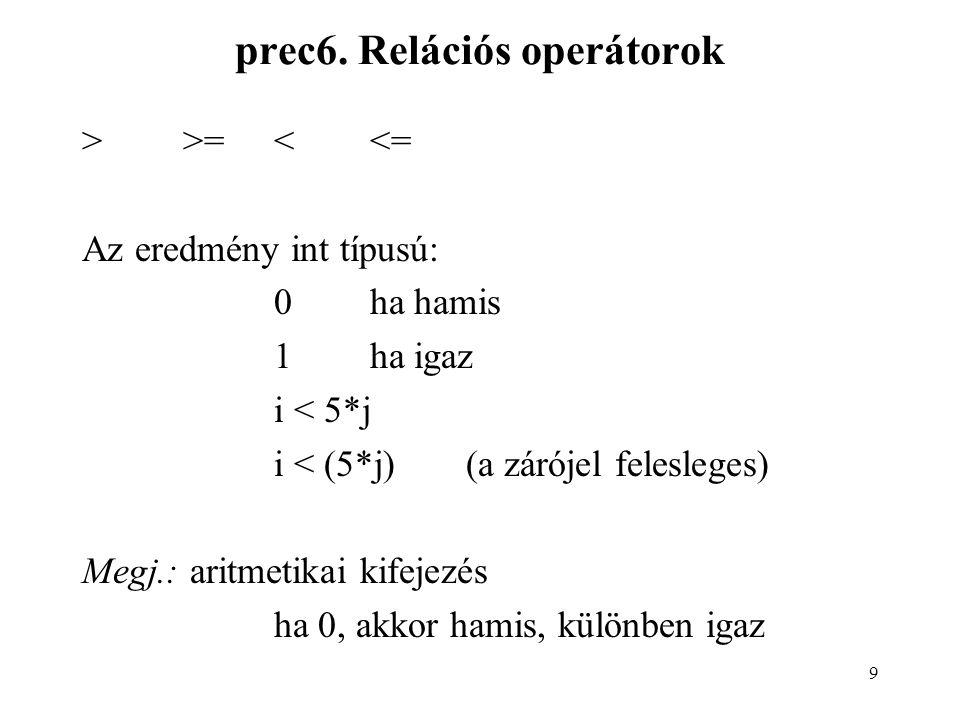 9 prec6. Relációs operátorok >>=<<= Az eredmény int típusú: 0ha hamis 1ha igaz i < 5*j i < (5*j)(a zárójel felesleges) Megj.: aritmetikai kifejezés ha