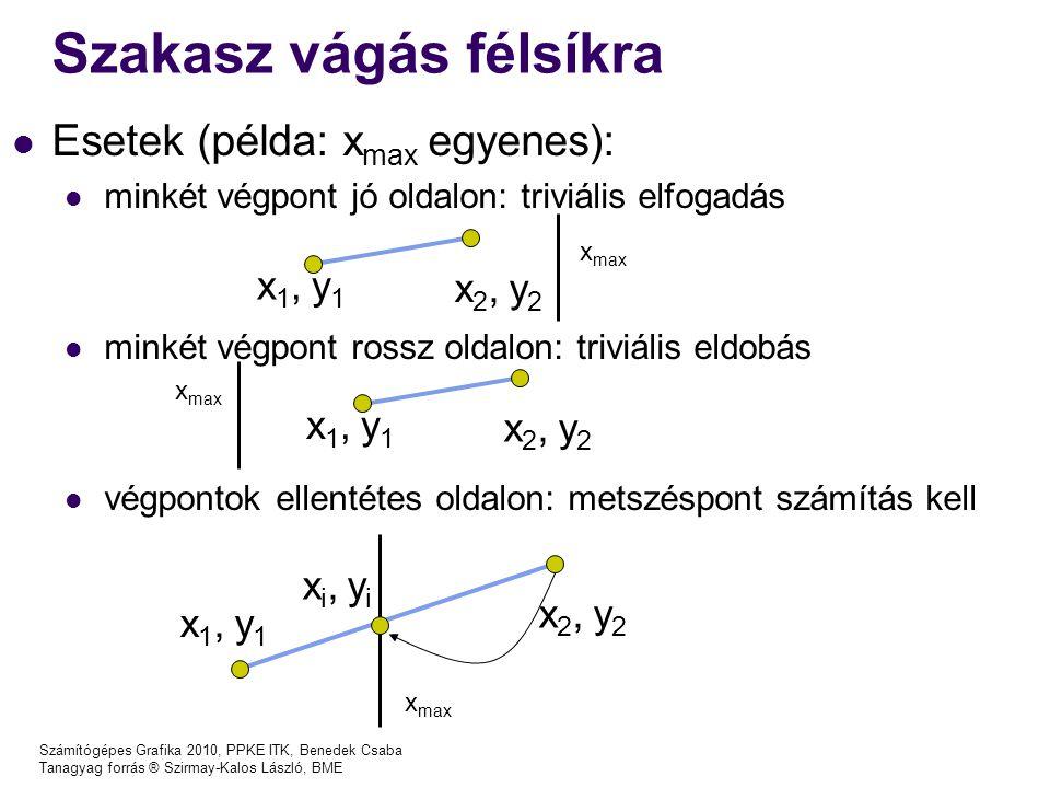 Számítógépes Grafika 2010, PPKE ITK, Benedek Csaba Tanagyag forrás ® Szirmay-Kalos László, BME Szakasz vágás félsíkra x1, y1x1, y1 x2, y2x2, y2 xi, yixi, yi Esetek (példa: x max egyenes): minkét végpont jó oldalon: triviális elfogadás minkét végpont rossz oldalon: triviális eldobás végpontok ellentétes oldalon: metszéspont számítás kell x1, y1x1, y1 x2, y2x2, y2 x max x1, y1x1, y1 x2, y2x2, y2