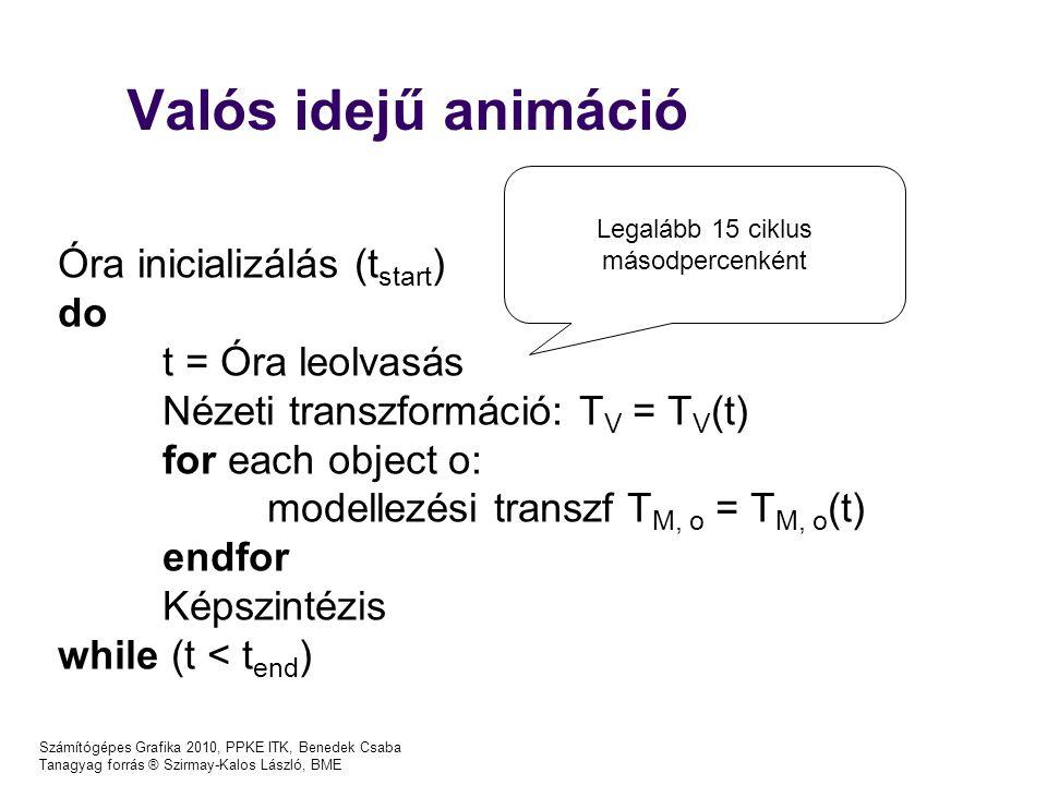 Számítógépes Grafika 2010, PPKE ITK, Benedek Csaba Tanagyag forrás ® Szirmay-Kalos László, BME Valós idejű animáció Óra inicializálás (t start ) do t = Óra leolvasás Nézeti transzformáció: T V = T V (t) for each object o: modellezési transzf T M, o = T M, o (t) endfor Képszintézis while (t < t end ) Legalább 15 ciklus másodpercenként