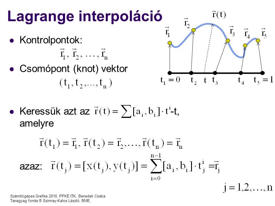 Számítógépes Grafika 2010, PPKE ITK, Benedek Csaba Tanagyag forrás ® Szirmay-Kalos László, BME Lagrange interpoláció Kontrolpontok: Csomópont (knot) vektor Keressük azt az -t, amelyre azaz: