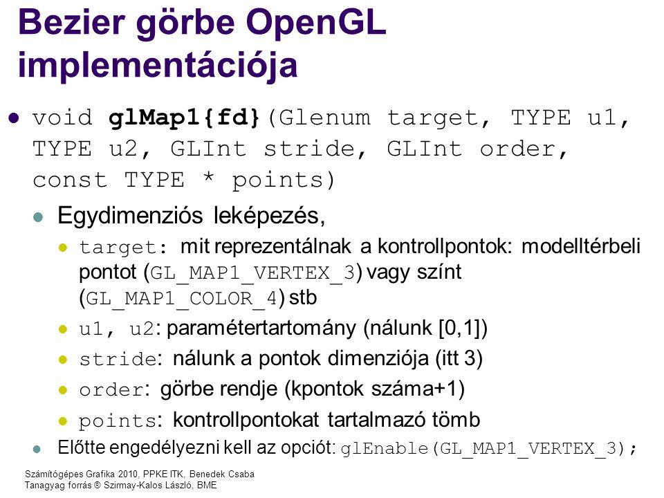 Számítógépes Grafika 2010, PPKE ITK, Benedek Csaba Tanagyag forrás ® Szirmay-Kalos László, BME Bezier görbe OpenGL implementációja void glMap1{fd}(Gle