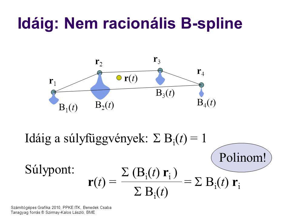 Számítógépes Grafika 2010, PPKE ITK, Benedek Csaba Tanagyag forrás ® Szirmay-Kalos László, BME Idáig: Nem racionális B-spline r3r3 r1r1 r2r2 r4r4 B1(t)B1(t) B2(t)B2(t) B3(t)B3(t) B4(t)B4(t) r(t)r(t) Idáig a súlyfüggvények:  B i (t) = 1 Súlypont:  (B i (t) r i ) r(t) = =  B i (t) r i  B i (t) Polinom!
