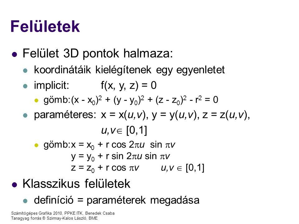 Számítógépes Grafika 2010, PPKE ITK, Benedek Csaba Tanagyag forrás ® Szirmay-Kalos László, BME Felületek Felület 3D pontok halmaza: koordinátáik kielé