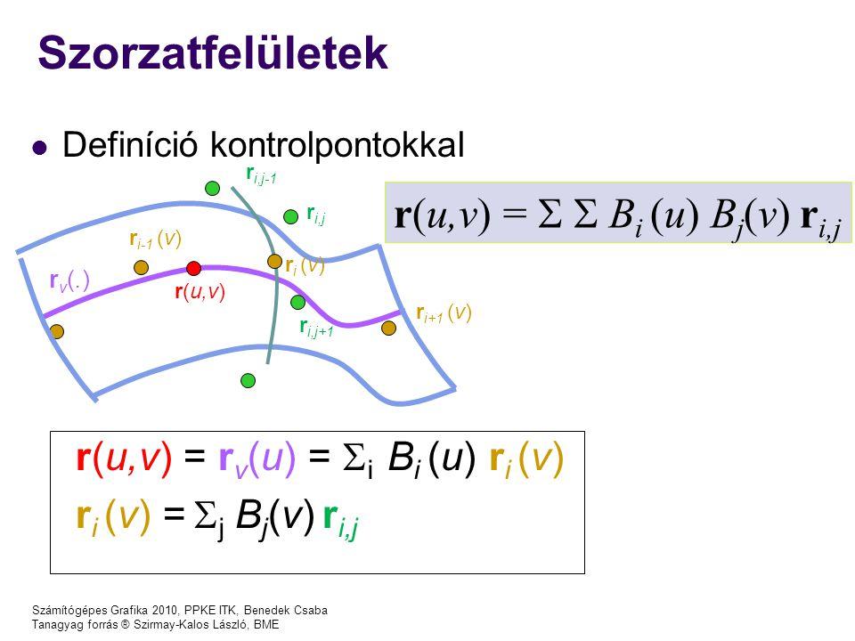 Számítógépes Grafika 2010, PPKE ITK, Benedek Csaba Tanagyag forrás ® Szirmay-Kalos László, BME Szorzatfelületek Definíció kontrolpontokkal r(u,v) = r v (u) =  i B i (u) r i (v) r i (v) =  j B j (v) r i,j r(u,v) =   B i (u) B j (v) r i,j r(u,v) ri (v)ri (v) r i+1 (v) r i-1 (v) rv(.)rv(.) r i,j r i,j+1 r i,j-1