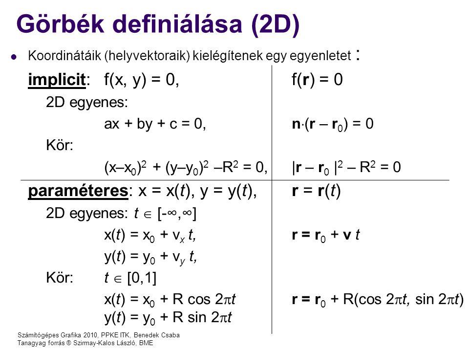 Számítógépes Grafika 2010, PPKE ITK, Benedek Csaba Tanagyag forrás ® Szirmay-Kalos László, BME Görbék definiálása (2D) Koordinátáik (helyvektoraik) kielégítenek egy egyenletet : implicit: f(x, y) = 0, f(r) = 0 2D egyenes: ax + by + c = 0, n  (r – r 0 ) = 0 Kör: (x–x 0 ) 2 + (y–y 0 ) 2 –R 2 = 0,|r – r 0 | 2 – R 2 = 0 paraméteres: x = x(t), y = y(t), r = r(t) 2D egyenes: t  [-∞,∞] x(t) = x 0 + v x t,r = r 0 + v t y(t) = y 0 + v y t, Kör:t  [0,1] x(t) = x 0 + R cos 2  tr = r 0 + R(cos 2  t, sin 2  t) y(t) = y 0 + R sin 2  t