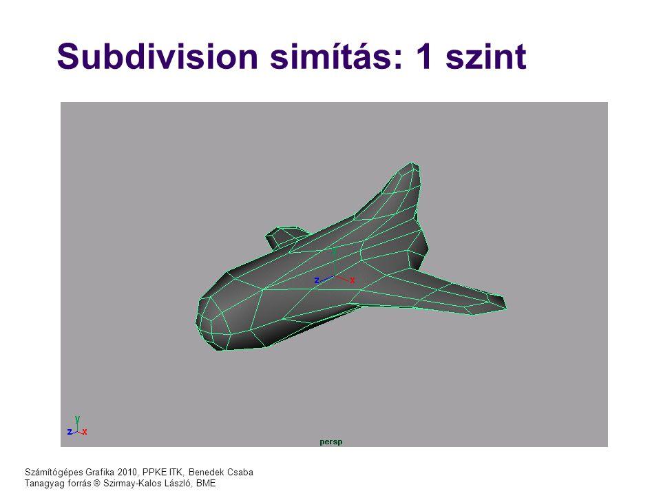 Számítógépes Grafika 2010, PPKE ITK, Benedek Csaba Tanagyag forrás ® Szirmay-Kalos László, BME Subdivision simítás: 1 szint