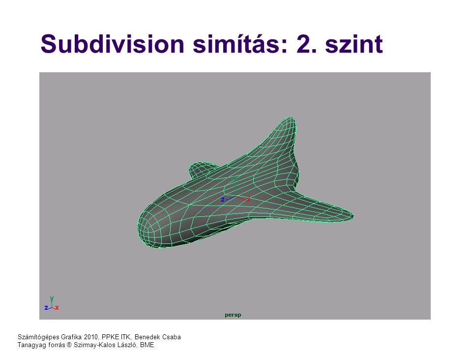 Számítógépes Grafika 2010, PPKE ITK, Benedek Csaba Tanagyag forrás ® Szirmay-Kalos László, BME Subdivision simítás: 2. szint