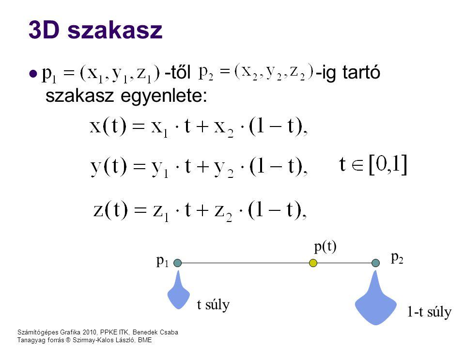 Számítógépes Grafika 2010, PPKE ITK, Benedek Csaba Tanagyag forrás ® Szirmay-Kalos László, BME Harmadfokú spline p(t) = a 3 t 3 + a 2 t 2 + a 1 t 1 + a 0 Új szemléletes reprezentáció: p(0) = a 0 p(1) = a 3 + a 2 + a 1 + a 0 p'(0) = a 1 p'(1) = 3a 3 + 2a 2 + a 1 (p(0),p(1),p'(0),p'(1)), ↔ ( a 3,a 2,a 1,a 0 ) p i (0)=r i, p i (1)=r i+1 C 1 folytonosság: 2 paraméter közös C 2 folytonosság: p i ''(1) = p i+1 ''(0) p i (0) p i (1) p i '(0) p i '(1) P i+1 (0) P i+1 '(0)