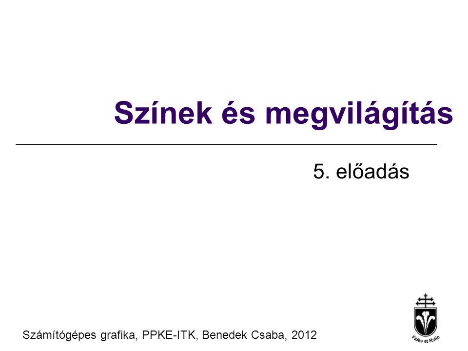 Anyagmodellek- diffúz anyagok Számítógépes Grafika 2010, PPKE ITK, Benedek Csaba Tanagyag forrás ® Szirmay-Kalos László, BME l Radiancia = Bejövő  BRDF  cos  ' l Diffúz anyag: a BRDF a nézeti iránytól független l Helmholtz: a BRDF megvilágítási iránytól is független l A BRDF l Diffúz visszaverődés = nagyon rücskös –sokszoros fény-anyag kölcsönhatás –Színes -  pl R, G és B komponensekre külön számítás f r,  (L,x,V) = k d,  (x) '' L N V x L  (x, V, ) = L in (x, L)  f r,  (L,x,V)  cos  '