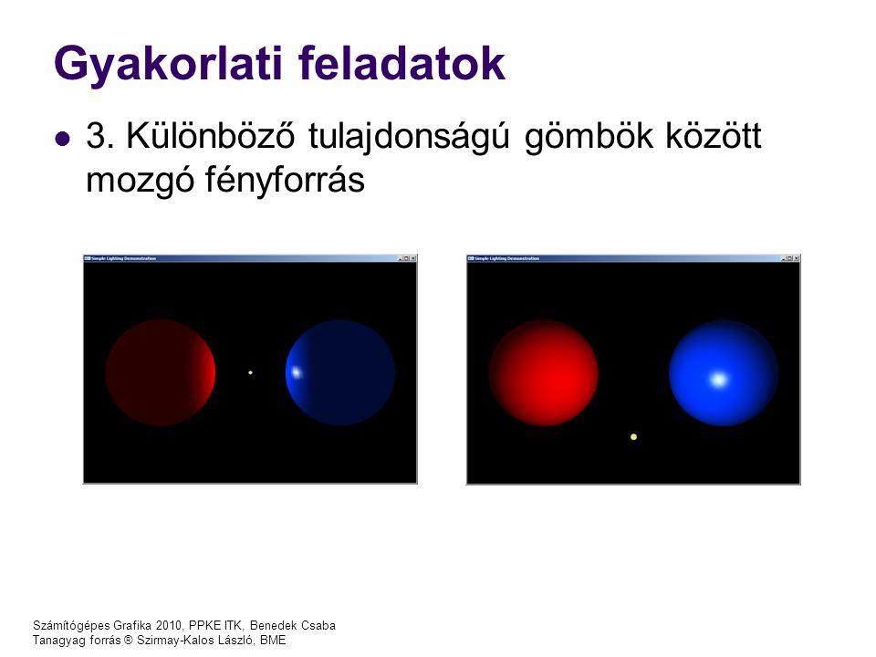 Gyakorlati feladatok 3. Különböző tulajdonságú gömbök között mozgó fényforrás Számítógépes Grafika 2010, PPKE ITK, Benedek Csaba Tanagyag forrás ® Szi