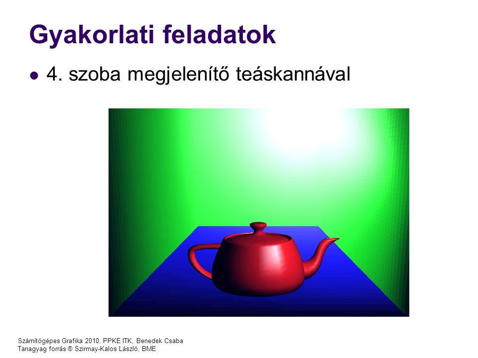 Gyakorlati feladatok 4. szoba megjelenítő teáskannával Számítógépes Grafika 2010, PPKE ITK, Benedek Csaba Tanagyag forrás ® Szirmay-Kalos László, BME