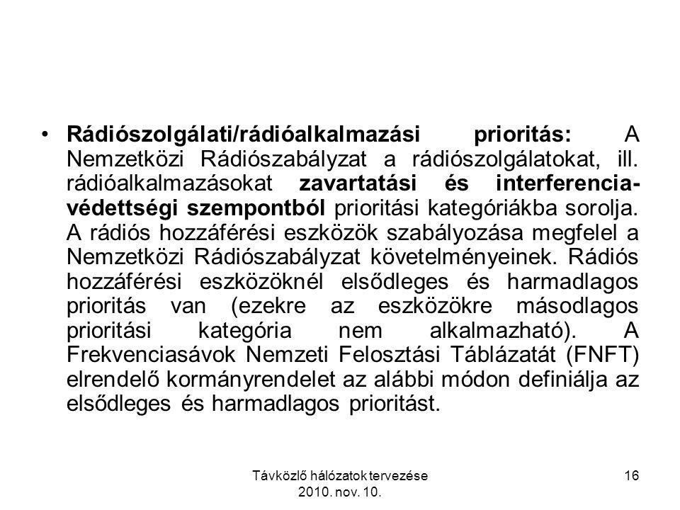 Távközlő hálózatok tervezése 2010. nov. 10. 16 Rádiószolgálati/rádióalkalmazási prioritás: A Nemzetközi Rádiószabályzat a rádiószolgálatokat, ill. rád