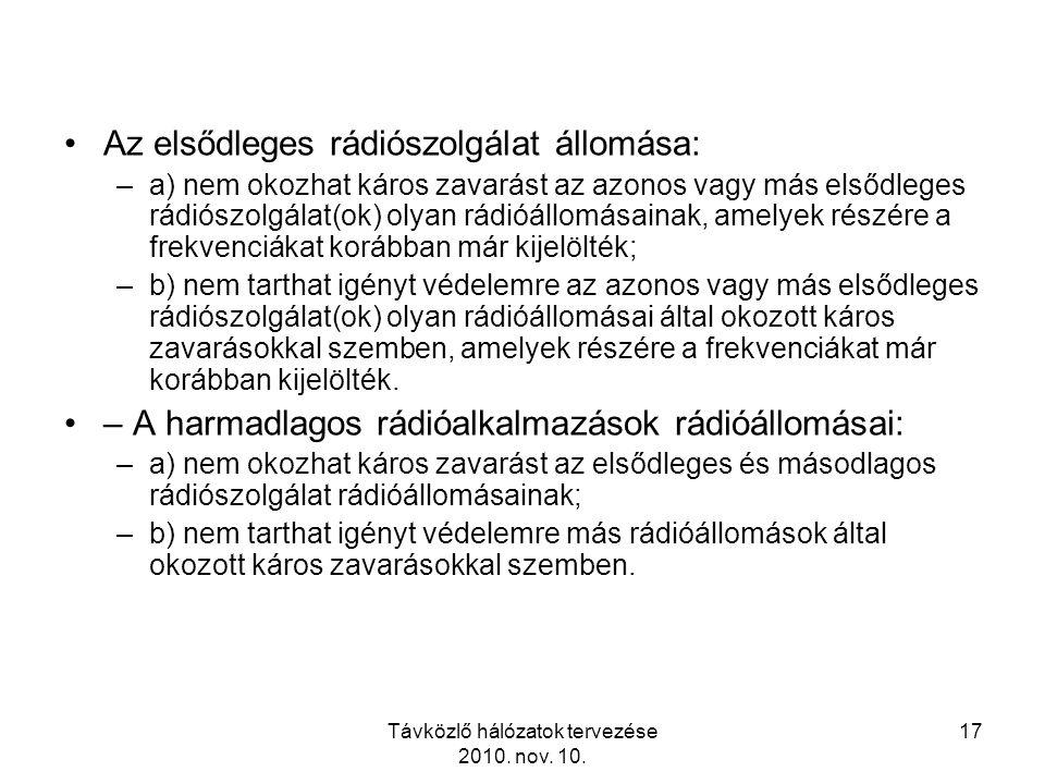 Távközlő hálózatok tervezése 2010. nov. 10. 17 Az elsődleges rádiószolgálat állomása: –a) nem okozhat káros zavarást az azonos vagy más elsődleges rád