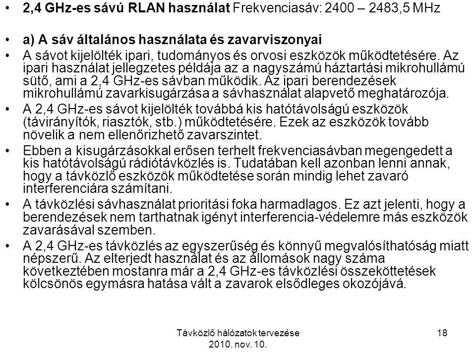 Távközlő hálózatok tervezése 2010. nov. 10. 18 2,4 GHz-es sávú RLAN használat Frekvenciasáv: 2400 – 2483,5 MHz a) A sáv általános használata és zavarv