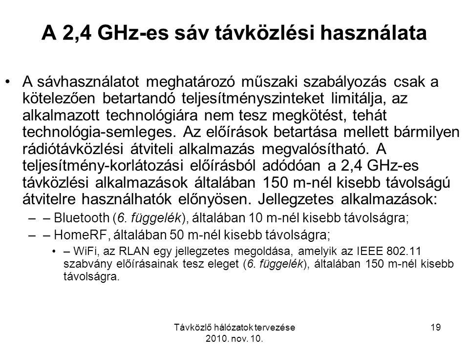 Távközlő hálózatok tervezése 2010. nov. 10. 19 A 2,4 GHz-es sáv távközlési használata A sávhasználatot meghatározó műszaki szabályozás csak a kötelező