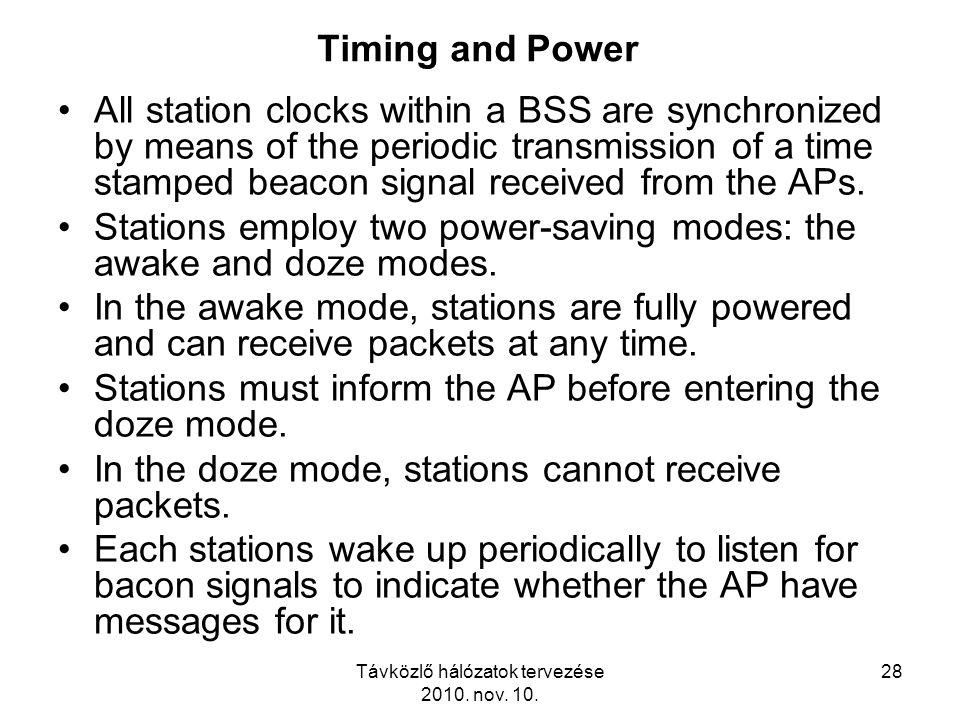 Távközlő hálózatok tervezése 2010. nov. 10. 28 Timing and Power All station clocks within a BSS are synchronized by means of the periodic transmission
