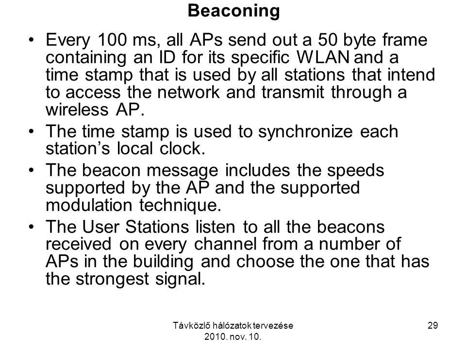 Távközlő hálózatok tervezése 2010. nov. 10. 29 Beaconing Every 100 ms, all APs send out a 50 byte frame containing an ID for its specific WLAN and a t