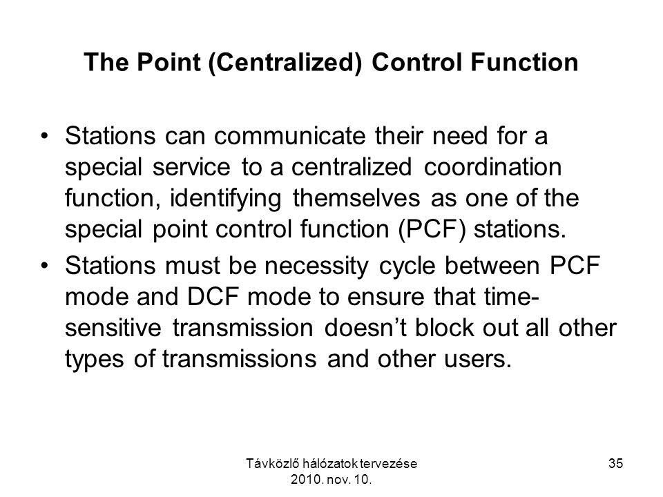 Távközlő hálózatok tervezése 2010. nov. 10. 35 The Point (Centralized) Control Function Stations can communicate their need for a special service to a