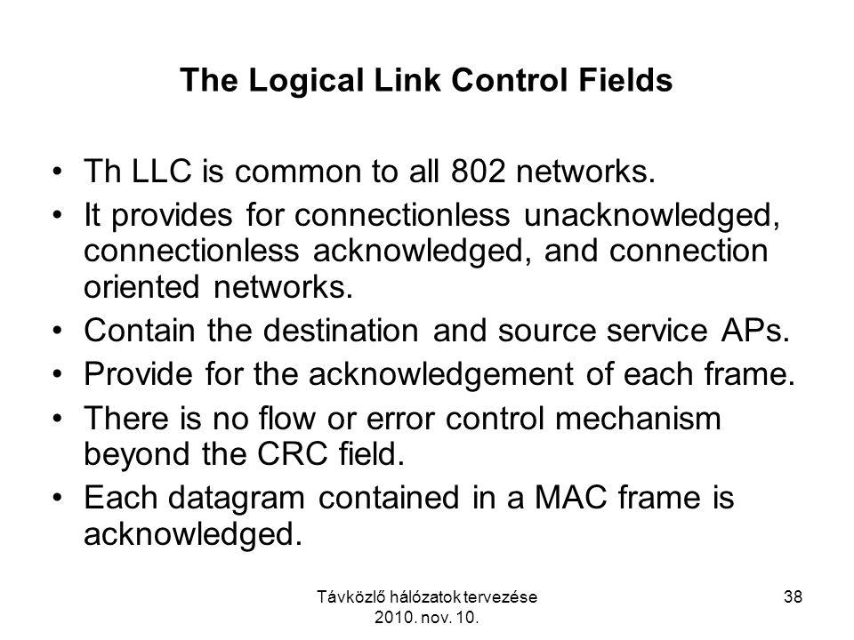 Távközlő hálózatok tervezése 2010. nov. 10. 38 The Logical Link Control Fields Th LLC is common to all 802 networks. It provides for connectionless un