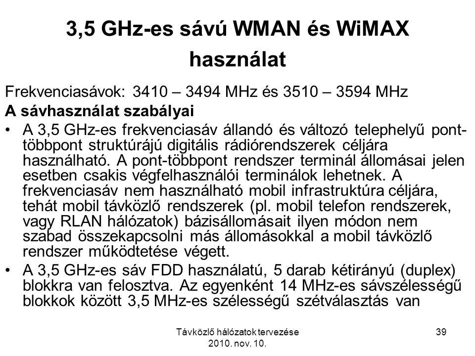 Távközlő hálózatok tervezése 2010. nov. 10. 39 3,5 GHz-es sávú WMAN és WiMAX használat Frekvenciasávok: 3410 – 3494 MHz és 3510 – 3594 MHz A sávhaszná