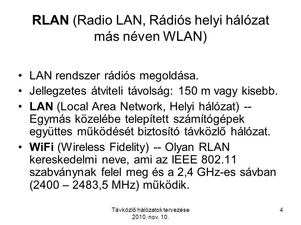 Távközlő hálózatok tervezése 2010. nov. 10. 4 RLAN (Radio LAN, Rádiós helyi hálózat más néven WLAN) LAN rendszer rádiós megoldása. Jellegzetes átvitel