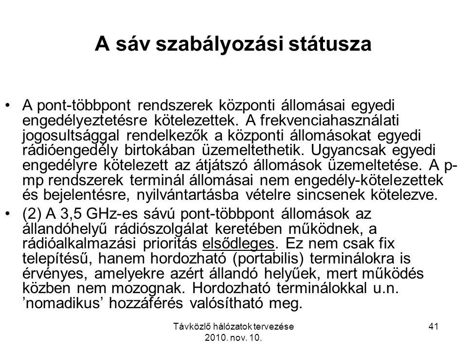 Távközlő hálózatok tervezése 2010. nov. 10. 41 A sáv szabályozási státusza A pont-többpont rendszerek központi állomásai egyedi engedélyeztetésre köte