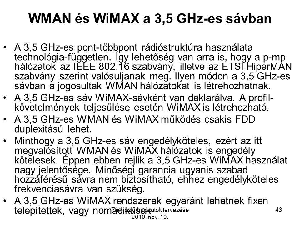 Távközlő hálózatok tervezése 2010. nov. 10. 43 WMAN és WiMAX a 3,5 GHz-es sávban A 3,5 GHz-es pont-többpont rádióstruktúra használata technológia-függ