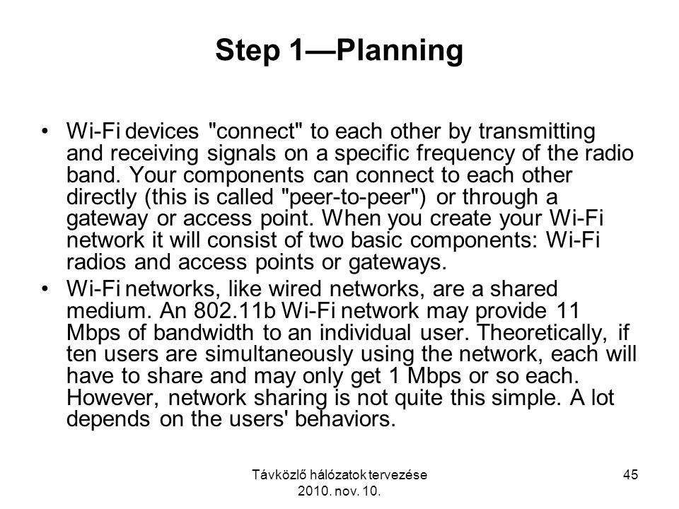 Távközlő hálózatok tervezése 2010. nov. 10. 45 Step 1—Planning Wi-Fi devices