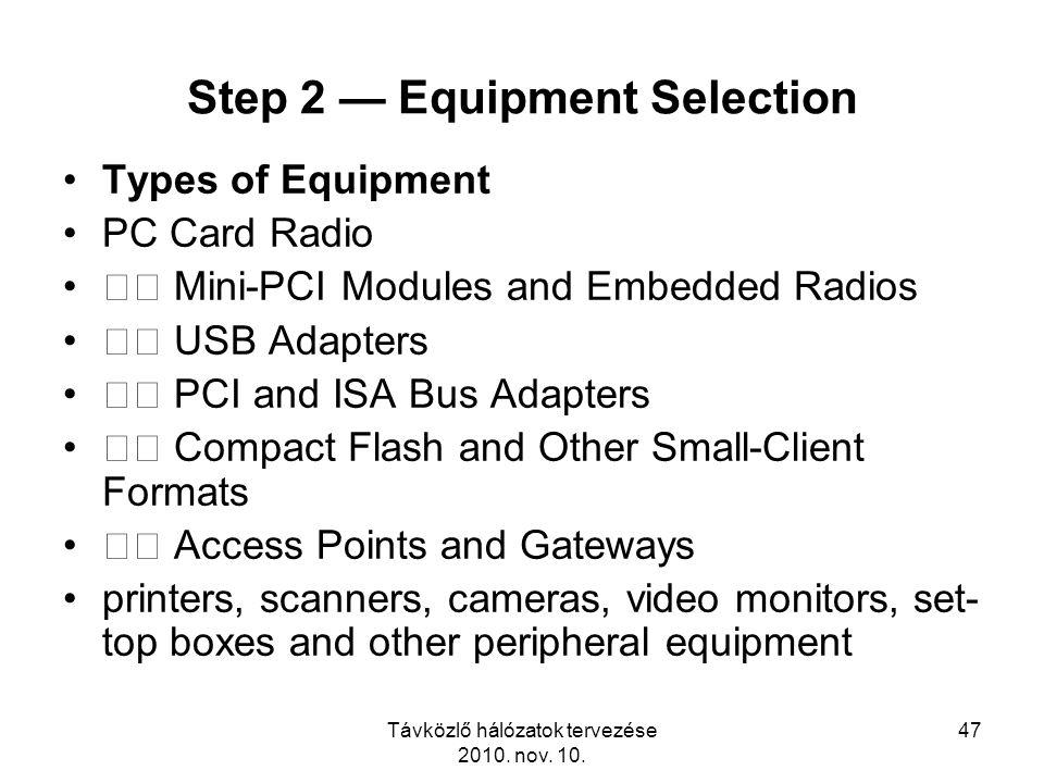 Távközlő hálózatok tervezése 2010. nov. 10. 47 Step 2 — Equipment Selection Types of Equipment PC Card Radio Mini-PCI Modules and Embedded Radios USB