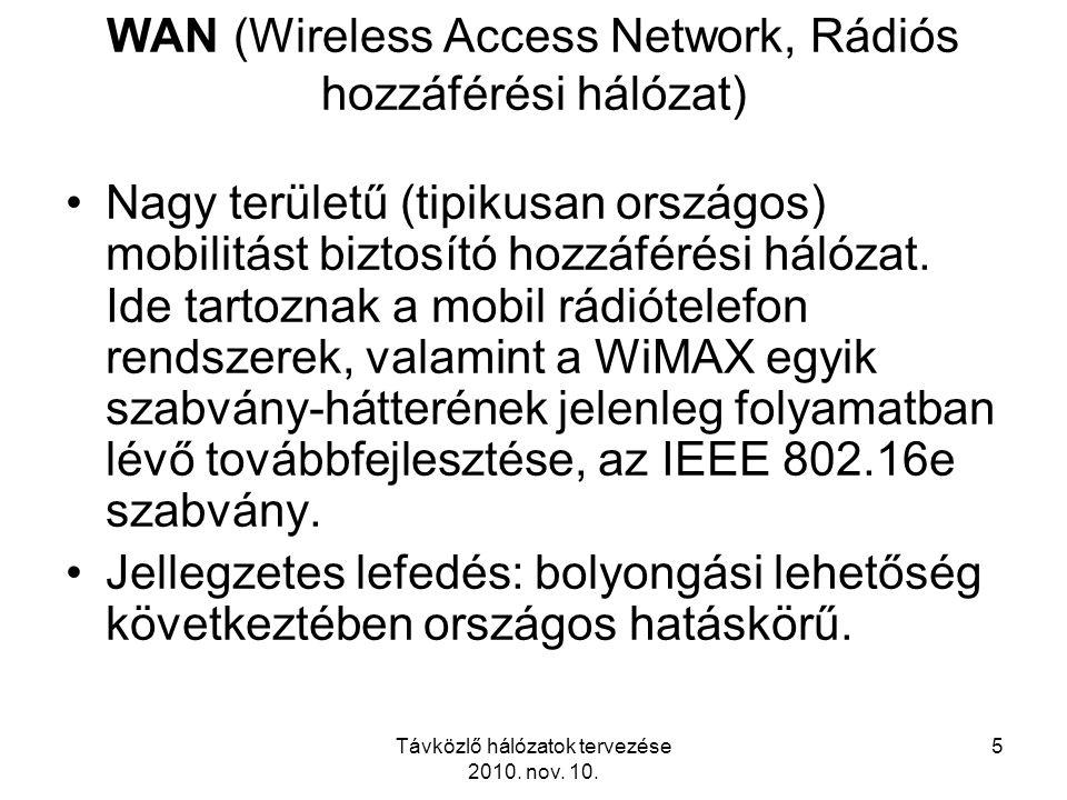 Távközlő hálózatok tervezése 2010. nov. 10. 5 WAN (Wireless Access Network, Rádiós hozzáférési hálózat) Nagy területű (tipikusan országos) mobilitást