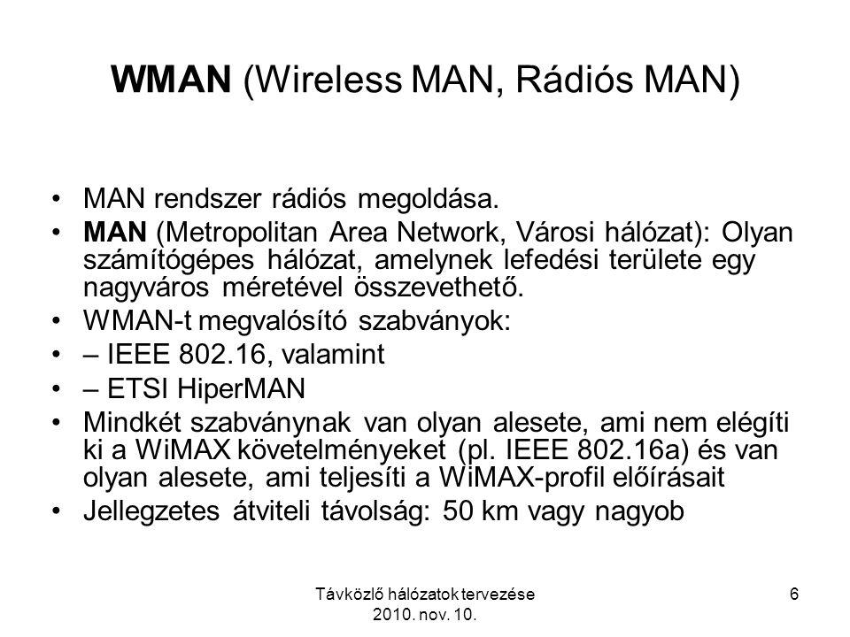 Távközlő hálózatok tervezése 2010. nov. 10. 6 WMAN (Wireless MAN, Rádiós MAN) MAN rendszer rádiós megoldása. MAN (Metropolitan Area Network, Városi há