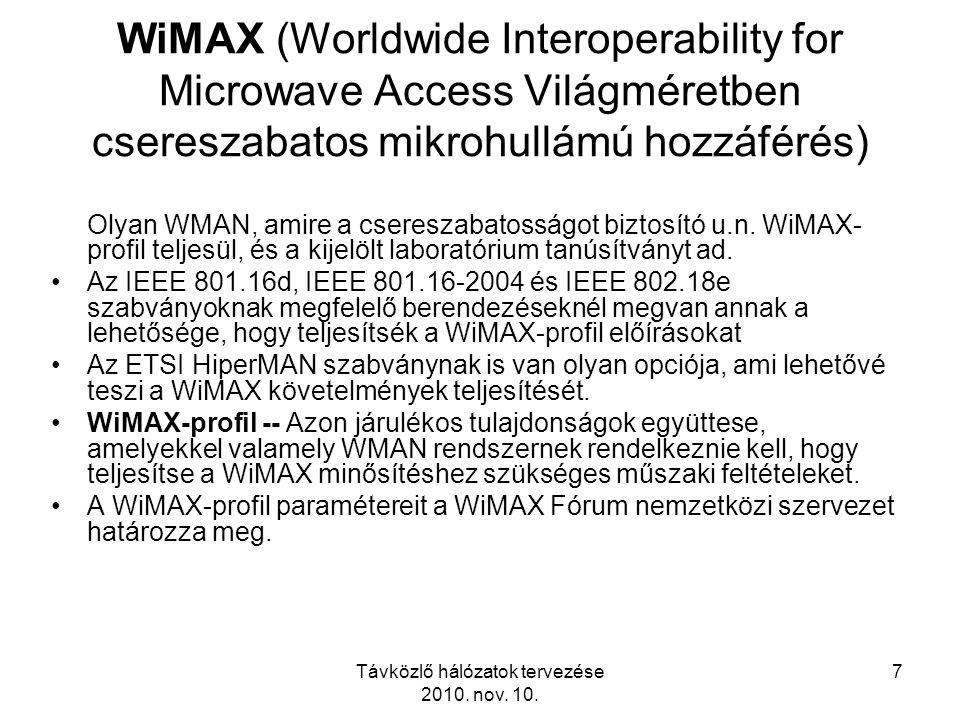 Távközlő hálózatok tervezése 2010. nov. 10. 7 WiMAX (Worldwide Interoperability for Microwave Access Világméretben csereszabatos mikrohullámú hozzáfér