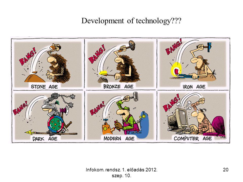 Infokom. rendsz. 1. előadás 2012. szep. 10. 20 Development of technology