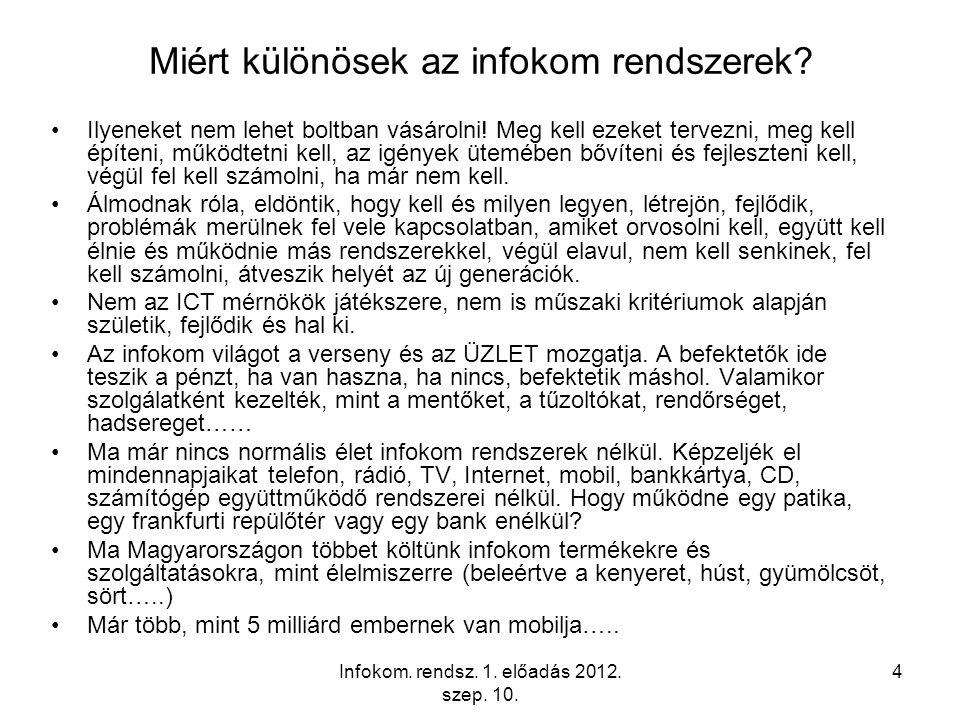Infokom. rendsz. 1. előadás 2012. szep. 10. 4 Miért különösek az infokom rendszerek.