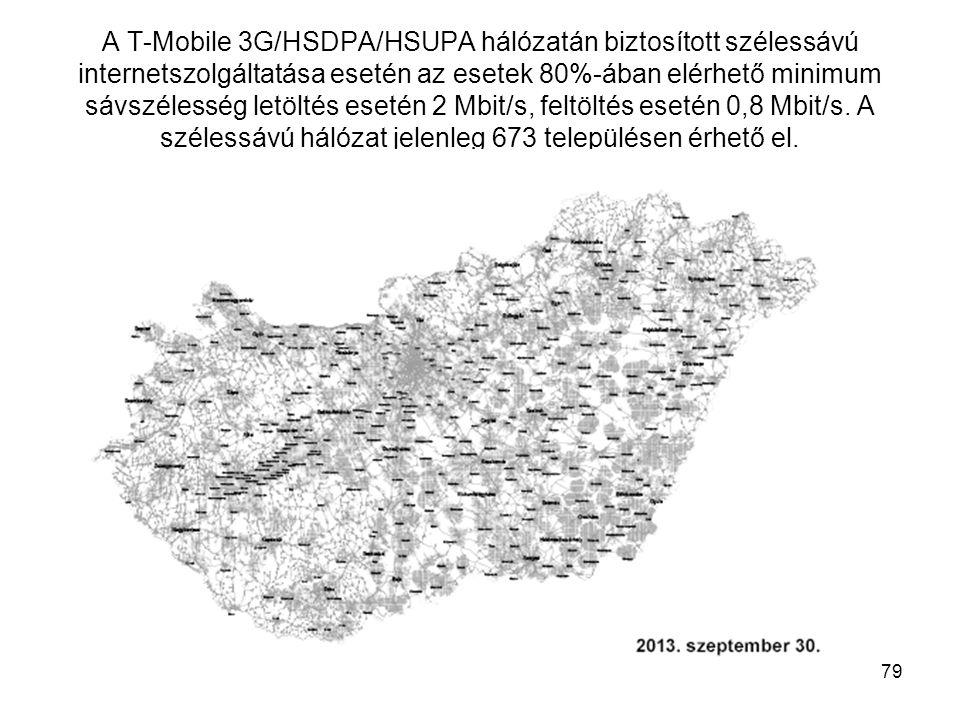 A T-Mobile 3G/HSDPA/HSUPA hálózatán biztosított szélessávú internetszolgáltatása esetén az esetek 80%-ában elérhető minimum sávszélesség letöltés esetén 4 Mbit/s, feltöltés esetén 2 Mbit/s.