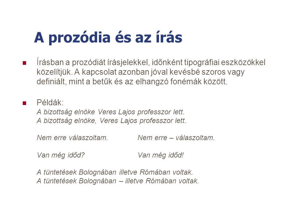 A magyar nyelv prozódiája Magyar Nyelvi Beszédtechnológiai Alapismeretek - demo 5.4 A magyar beszéd - Prozódia 5.4 A magyar beszéd - Prozódia