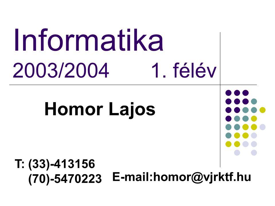 Informatika 2003/2004 1. félév Homor Lajos T: (33)-413156 (70)-5470223 E-mail:homor@vjrktf.hu
