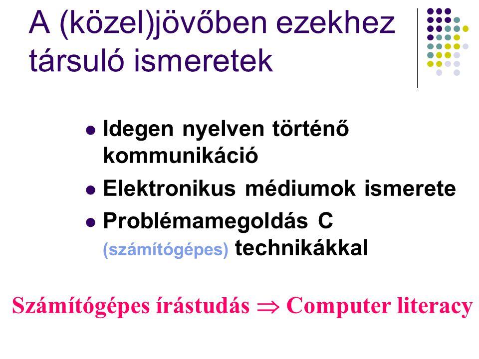 A (közel)jövőben ezekhez társuló ismeretek Idegen nyelven történő kommunikáció Elektronikus médiumok ismerete Problémamegoldás C (számítógépes) technikákkal Számítógépes írástudás  Computer literacy