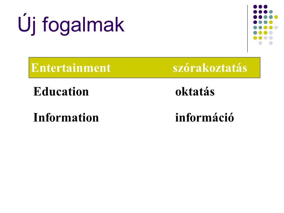 Új fogalmak Entertainmentszórakoztatás Educationoktatás Informationinformáció