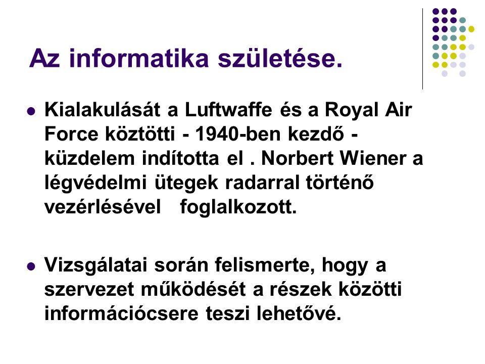 Az informatika születése. Kialakulását a Luftwaffe és a Royal Air Force köztötti - 1940-ben kezdő - küzdelem indította el. Norbert Wiener a légvédelmi