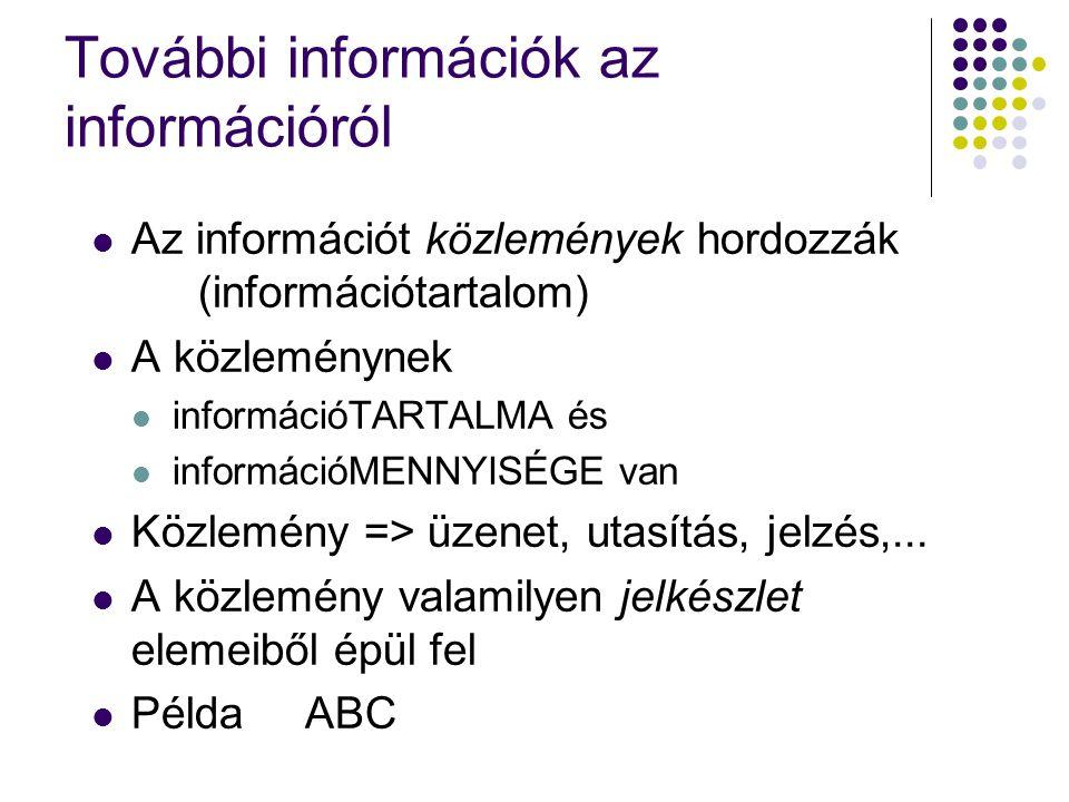 További információk az információról Az információt közlemények hordozzák (információtartalom) A közleménynek információTARTALMA és információMENNYISÉGE van Közlemény => üzenet, utasítás, jelzés,...