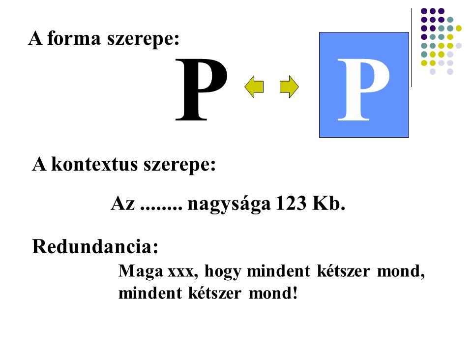PP A forma szerepe: A kontextus szerepe: Az........ nagysága 123 Kb. Redundancia: Maga xxx, hogy mindent kétszer mond, mindent kétszer mond!