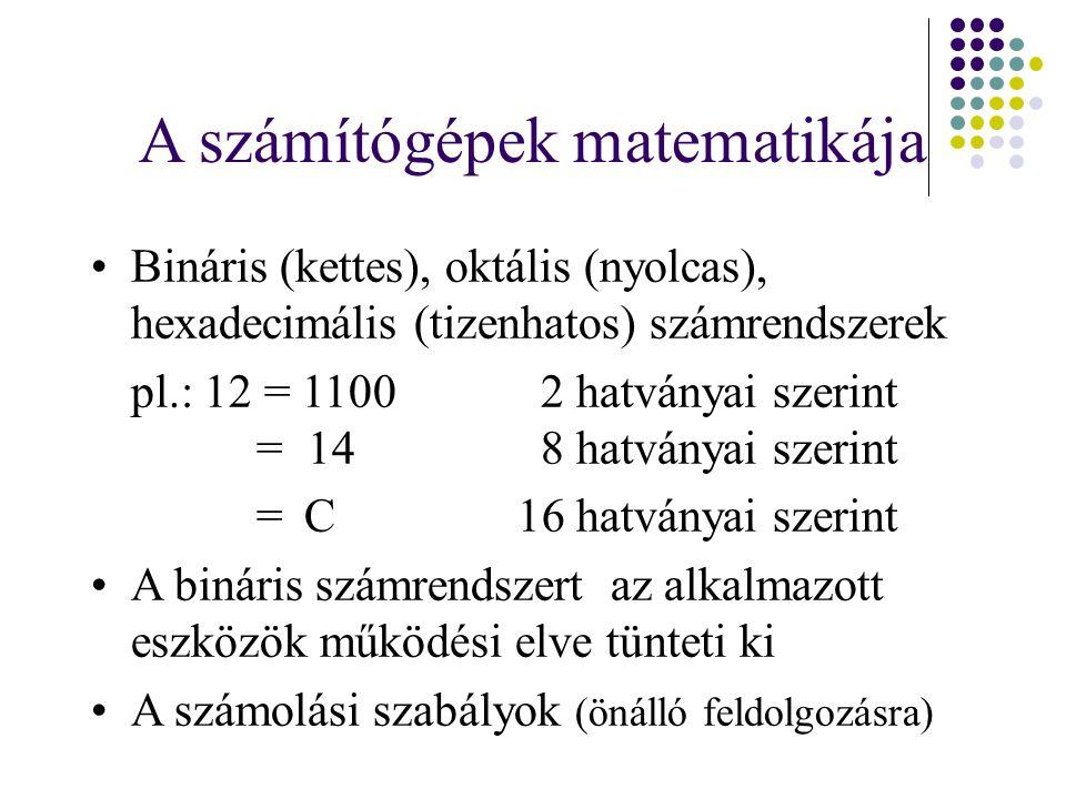 A számítógépek matematikája Bináris (kettes), oktális (nyolcas), hexadecimális (tizenhatos) számrendszerek pl.: 12 = 1100 2 hatványai szerint = 14 8 hatványai szerint =C 16 hatványai szerint A bináris számrendszert az alkalmazott eszközök működési elve tünteti ki A számolási szabályok (önálló feldolgozásra)
