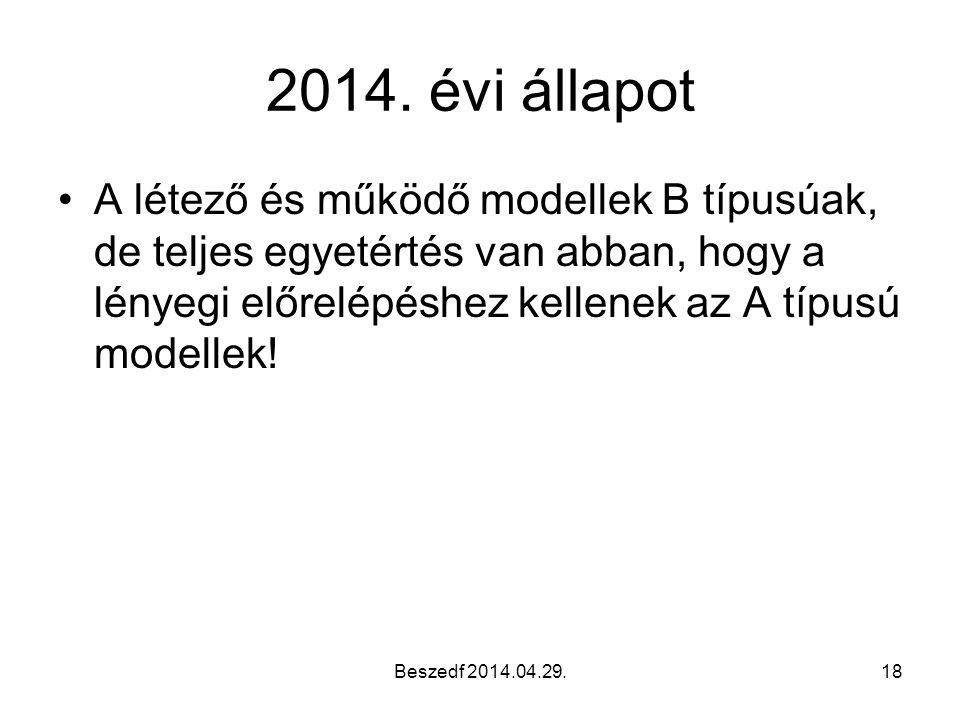 Beszedf 2014.04.29.18 2014. évi állapot A létező és működő modellek B típusúak, de teljes egyetértés van abban, hogy a lényegi előrelépéshez kellenek